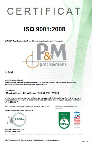 Certificat ISO 2016